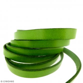 Cordon cuir plat - 10 mm - Vert kaki - Vendu par 50 cm