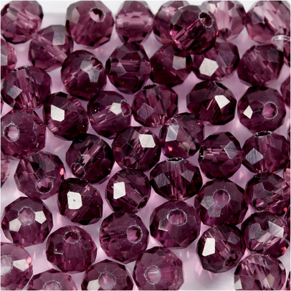 Perles rondes à facettes 4 mm - Violet - 45 pcs - Photo n°1