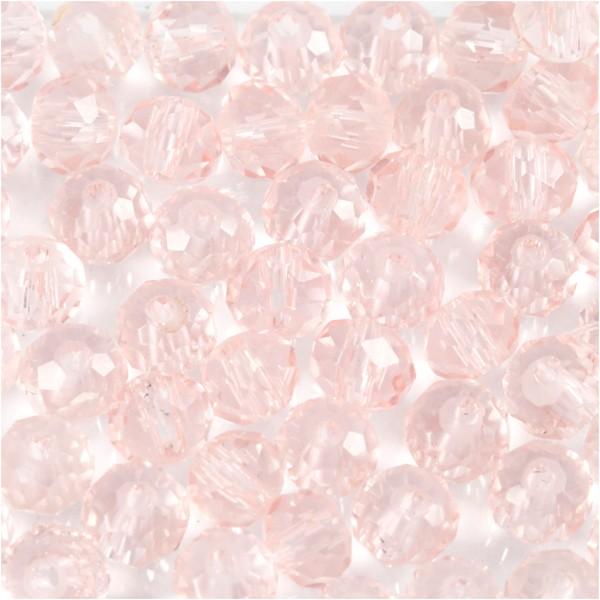 Perles rondes à facettes 4 mm - Rose pale - 45 pcs - Photo n°1