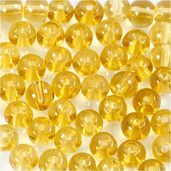 Perles en verre 4 mm - Jaune - 45 pcs - Photo n°1