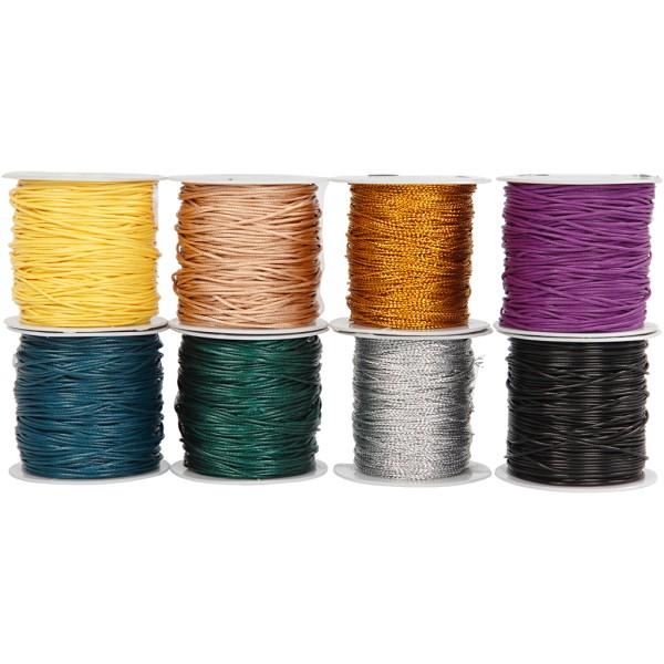 Assortiment de ficelles de coton - Couleurs - 1 mm - 40 m x 8 pcs - Photo n°1