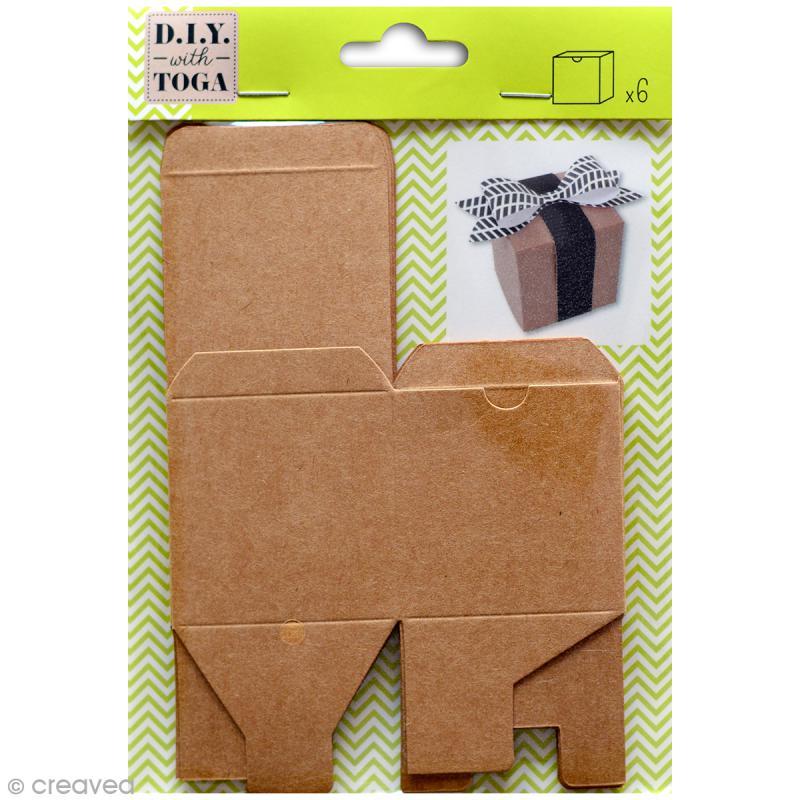 Boîte cube Kraft - 5,5 x 5,5 cm - 6 pcs - Photo n°1