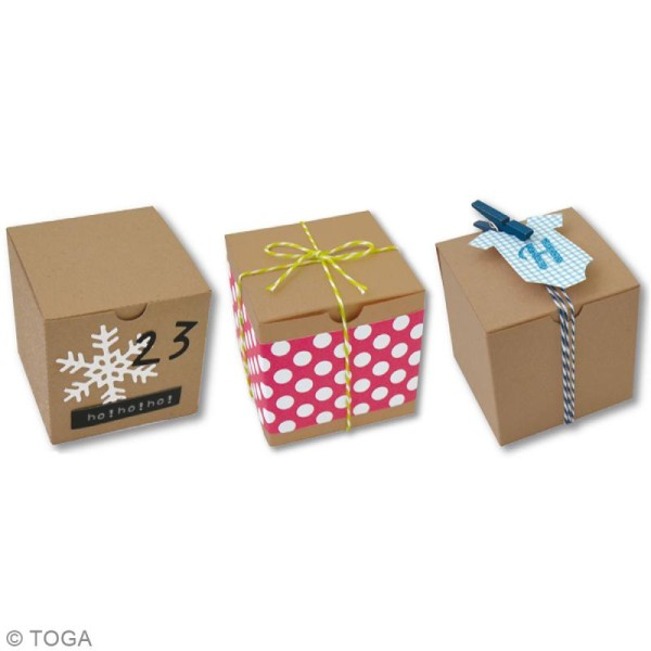 Boîte cube Kraft - 5,5 x 5,5 cm - 6 pcs - Photo n°2