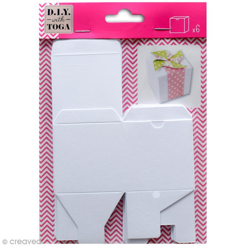 Boîte cube Blanc - 5,5 x 5,5 cm - 6 pcs - Photo n°1