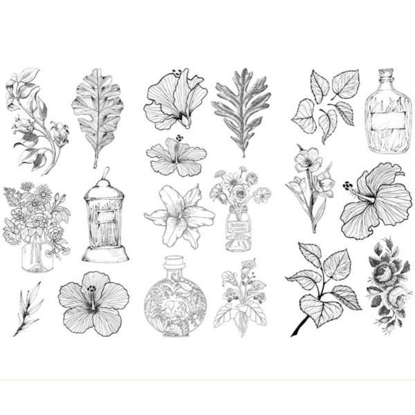 1pc Noir Silhouette Fleur Feuille Calligraphie Florale Grand Papier Washi Blanc Vintage de bande des - Photo n°1