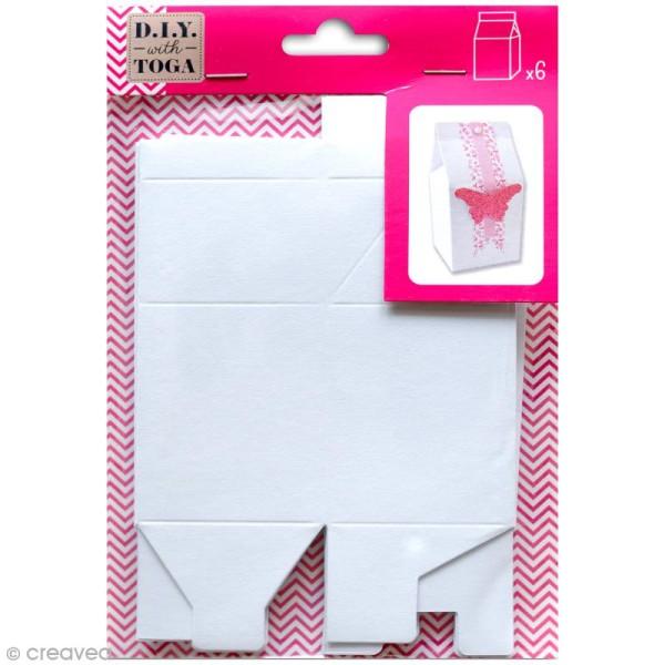 Boîte à lait Blanc - 5,5 x 7 cm - 6 pcs - Photo n°1