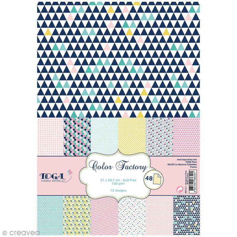 Papier scrapbooking Toga - Color factory - Géométrique pastel - 48 feuilles A4 - Photo n°1