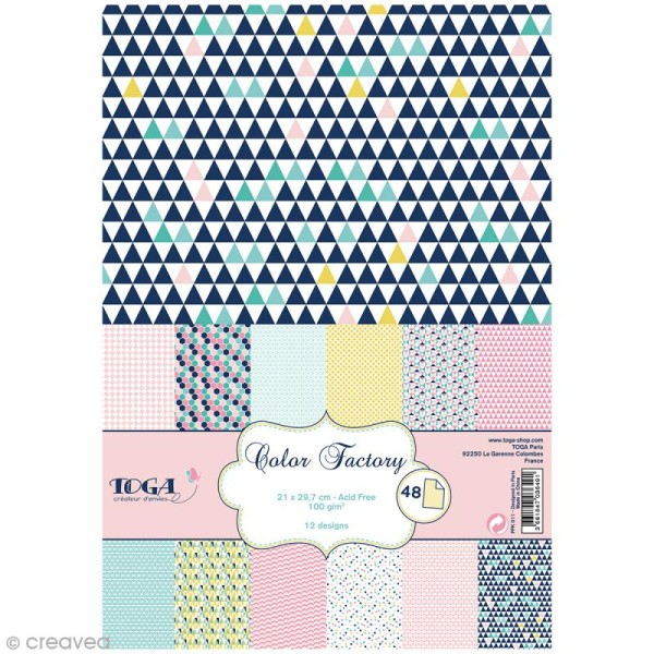 Papier scrapbooking Toga - Color factory - Géométrique pastel - 48 feuilles A4 - Photo n°1