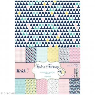 Papier scrapbooking Toga - Color factory - Géométrique pastel - 48 feuilles A4