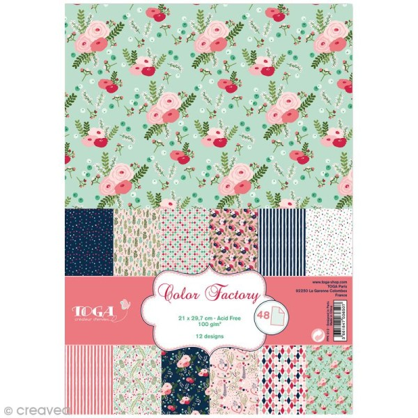 Papier scrapbooking Toga - Color factory - Lovely flowers - 48 feuilles A4 - Photo n°1