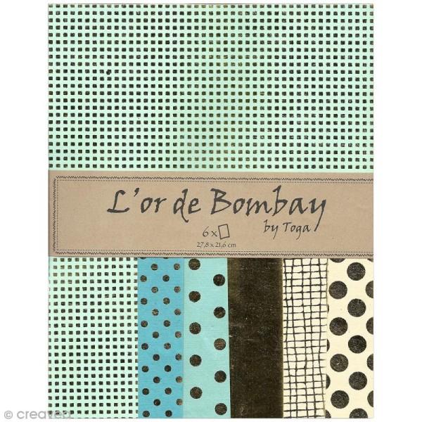 Papier scrapbooking recyclé - L'Or de Bombay - Vert & Or - 6 feuilles 27,8 x 21,6 cm - Photo n°1