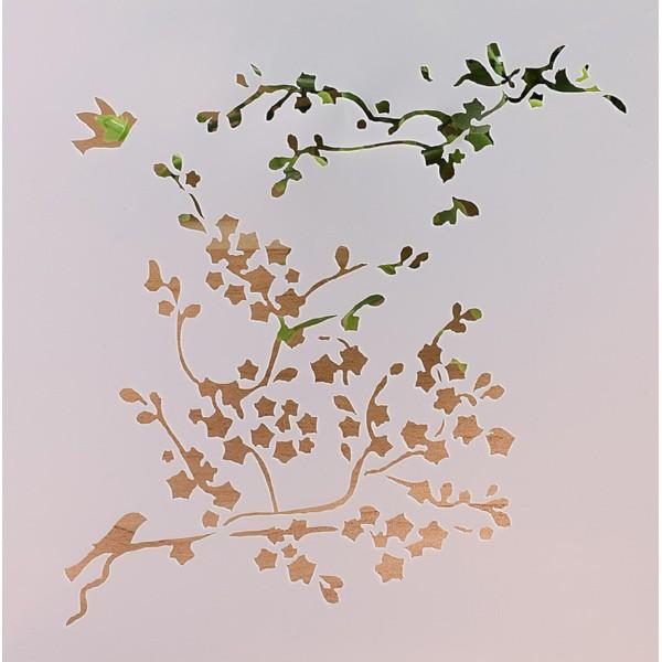 POCHOIR PLASTIQUE 13*13cm : branches et oiseaux - Photo n°1