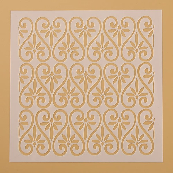 POCHOIR PLASTIQUE 13*13cm : mur motif antique - Photo n°1
