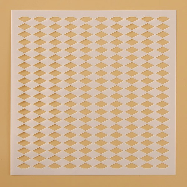 POCHOIR PLASTIQUE 13*13cm : mur motif losange - Photo n°1