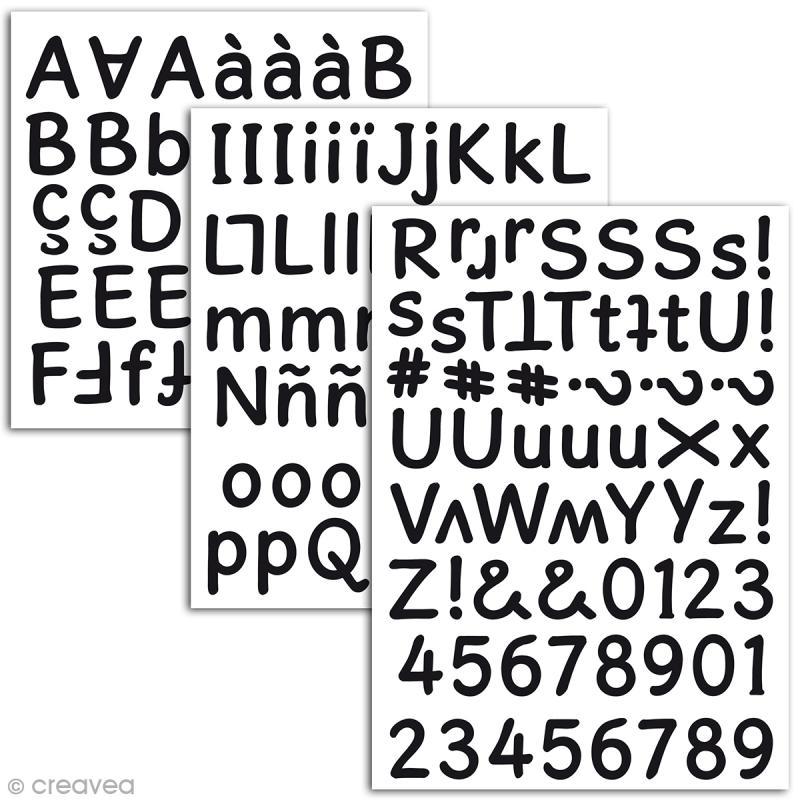 Stickers alphabet mousse 2 cm - Noir - 165 pcs - Photo n°2