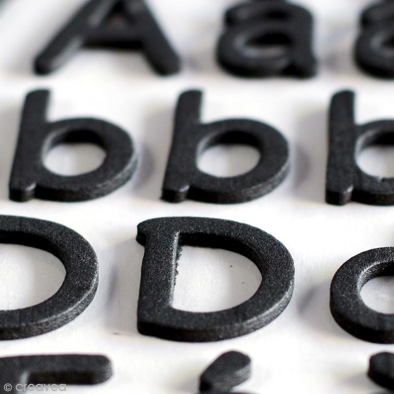 Stickers alphabet mousse 2 cm - Noir - 165 pcs - Photo n°3