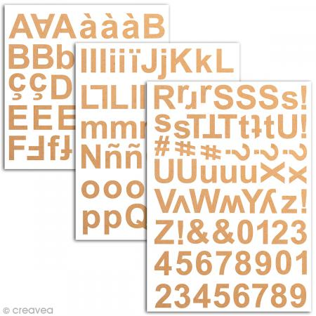 Stickers alphabet chipboard 2 cm - Kraft - 165 pcs - Photo n°2