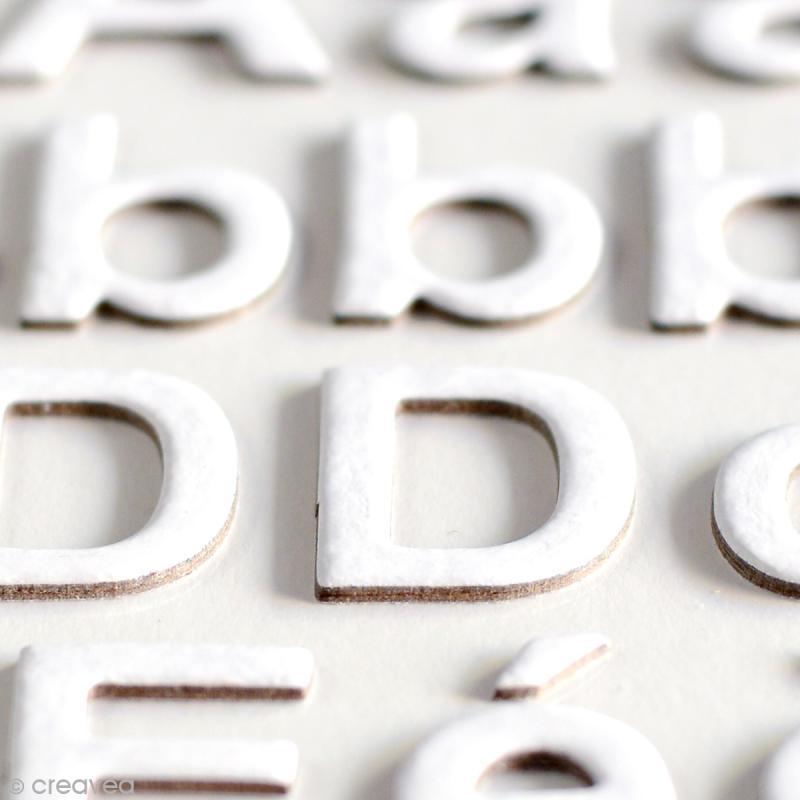 Stickers alphabet chipboard 2 cm - Blanc - 165 pcs - Photo n°3