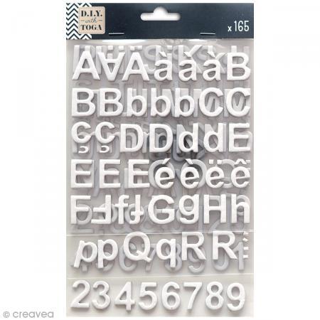 Stickers alphabet chipboard 2 cm - Blanc - 165 pcs - Photo n°1