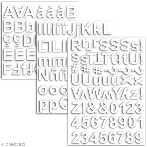 Stickers alphabet chipboard 2 cm - Blanc - 165 pcs - Photo n°2