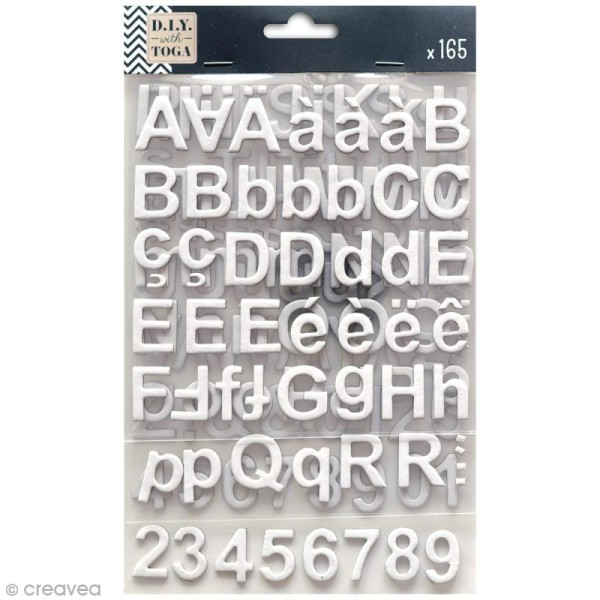 Stickers alphabet chipboard 2 cm - Blanc - 165 pcs - Photo n°1