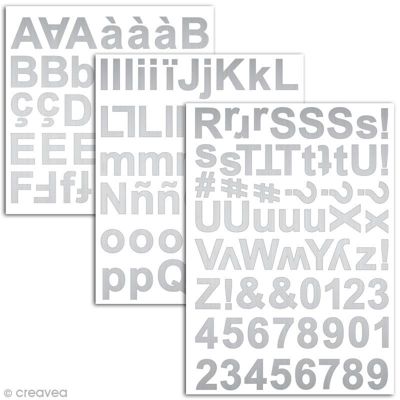 Stickers alphabet chipboard 2 cm - Argenté - 165 pcs - Photo n°2