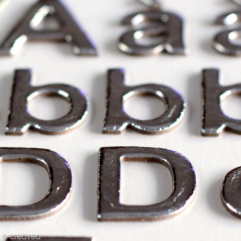 Stickers alphabet chipboard 2 cm - Argenté - 165 pcs - Photo n°3