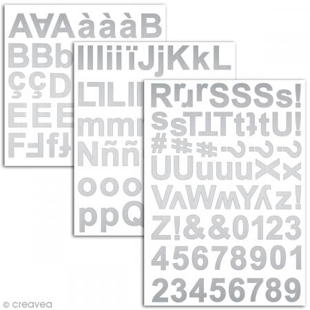 Stickers alphabet chipboard 2 cm - Argenté - 165 pcs - Photo n°2