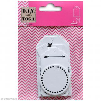 Etiquettes cadeaux - Blanc - 24 pcs