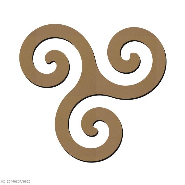 Forme en bois à décorer - Symbole Breton - Triskèle - 7 x 7,5 cm - Photo n°1