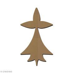 Forme en bois à décorer - Symbole Breton - Hermine - 4 x 7,5 cm