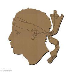 a21bc1b17e4a6 Forme en bois à décorer - Symbole Corse - Tête de Maure - 7 x 7