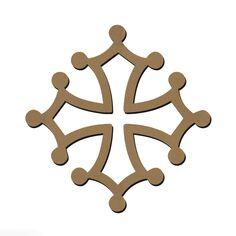 Forme en bois à décorer - Symbole Occitan - Croix Occitane - 7,5 x 7,5 cm
