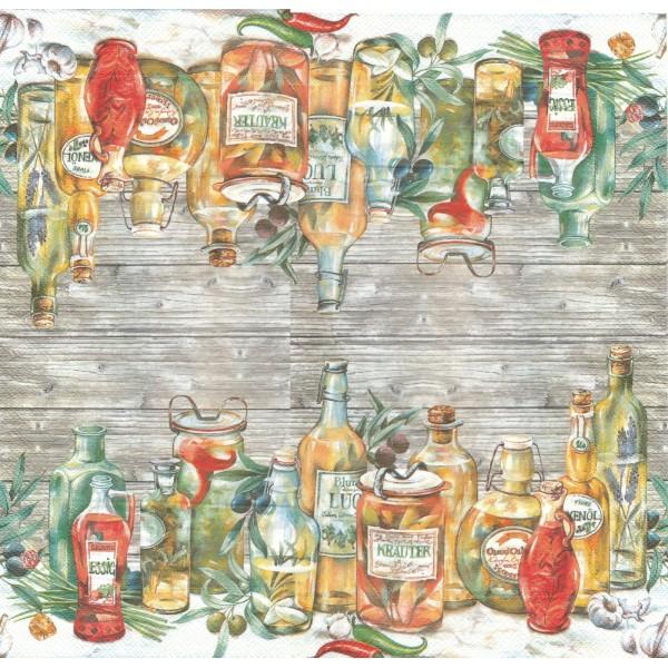 4 Serviettes en papier Huile d'Olive Format Lunch TD-L-443600 Decoupage Decopatch Table&Deco - Photo n°1