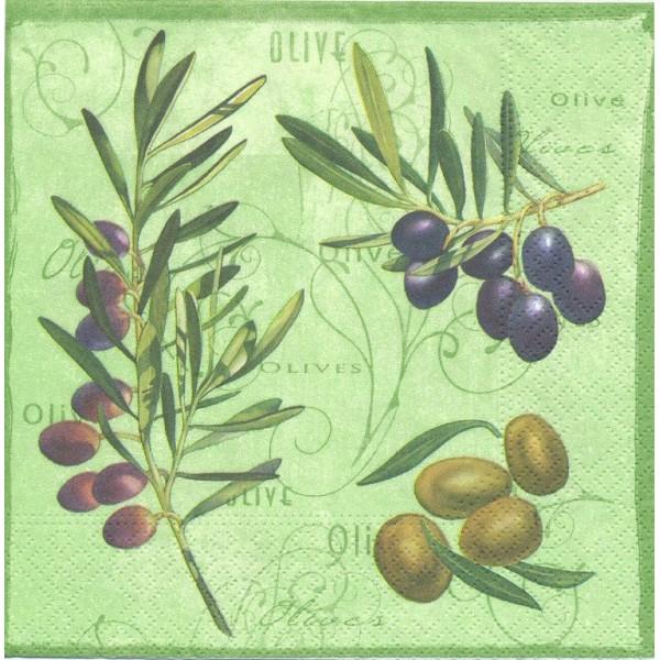 4 Serviettes en papier Branches d'olivier Olives  Format Lunch Decoupage Decopatch 74185 Nouveau - Photo n°1