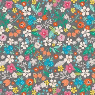 Serviette en papier - Floral - Multicolore sur fond gris - 20 pcs