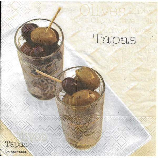 4 Serviettes en papier Tapas Olive Format Lunch Decoupage Decopatch 1330535 Ambiente - Photo n°1