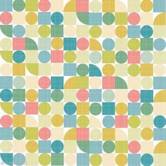 Serviette en papier - Géométrique - Vert, jaune, bleu - 20 pcs