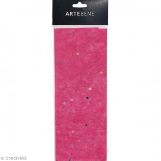 Papier de soie - Rose fuchsia - Effet pailleté - 50 x 70 cm - 3 pcs