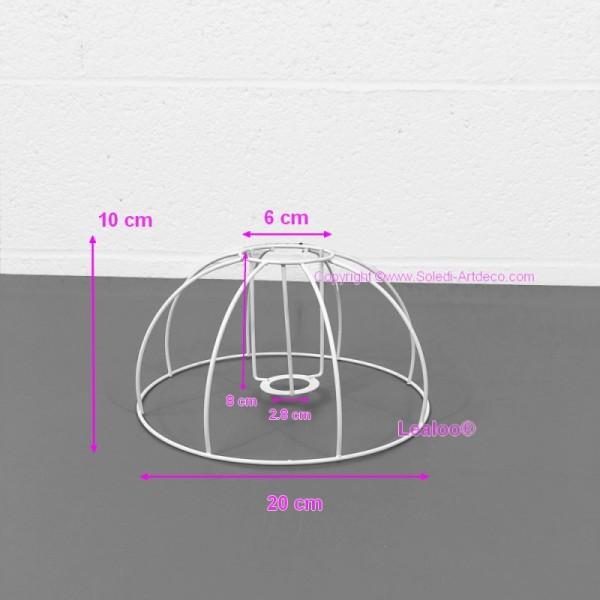 Petite Carcasse Abat-Jour Cloche 20 cm, Armature Dôme 8 branches en epoxy anticorrosion, pour E14 - Photo n°1