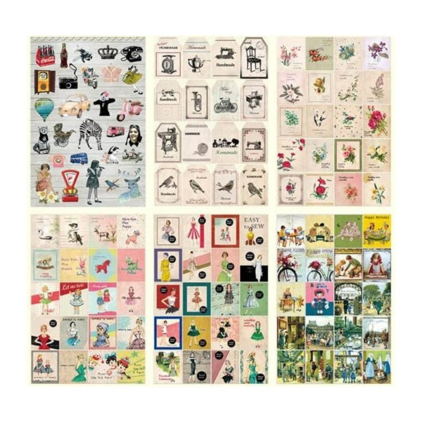 24 Fiches De Jeu De Timbres Label Magazine Papier Fait À La Main Vintage Décalque De L'Artisanat Des - Photo n°3