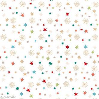 Serviette en papier - Etoiles et flocons - Multicolore sur fond blanc - 20 pcs