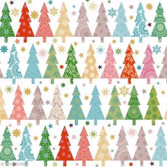 Serviette en papier - Sapins - Multicolore sur fond blanc - 20 pcs