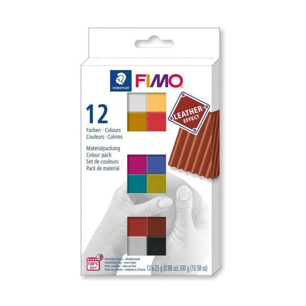 FIMO Effet Cuir Set de 12 Couleurs 25g, de l'Artisanat, de l'Art, de l'Argile Polymère, Argile à la - Photo n°1