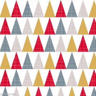 Serviette en papier - Triangles - Or, rouge er gris - 20 pcs