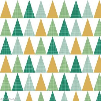 Serviette en papier - Triangles - Or, vert et gris - 20 pcs
