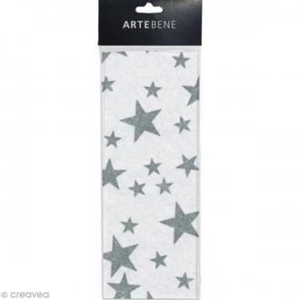 Papier de soie - Etoiles - Argenté et blanc - 50 x 70 cm - 3 pcs