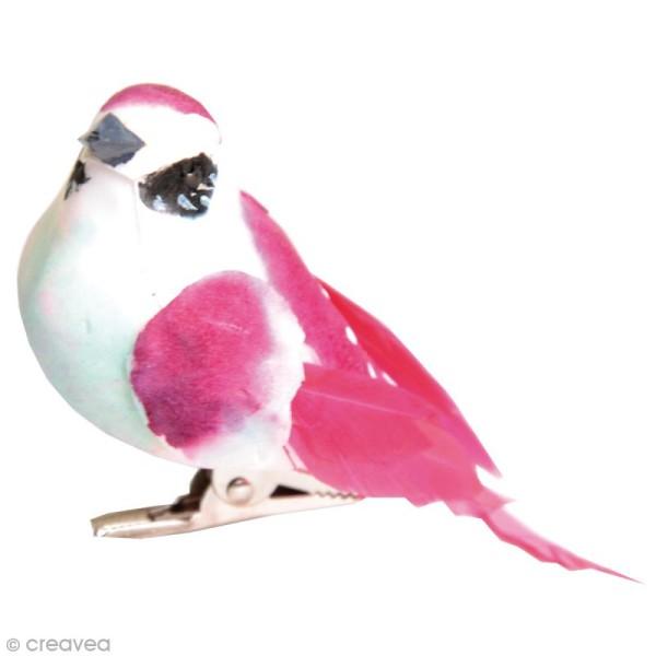 Oiseaux colorés sur pince - Plumes - Violet, rose et vert - 3 pcs - Photo n°2