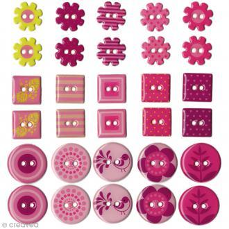 Boutons Epoxy Flowers -- Rose - 30 pcs