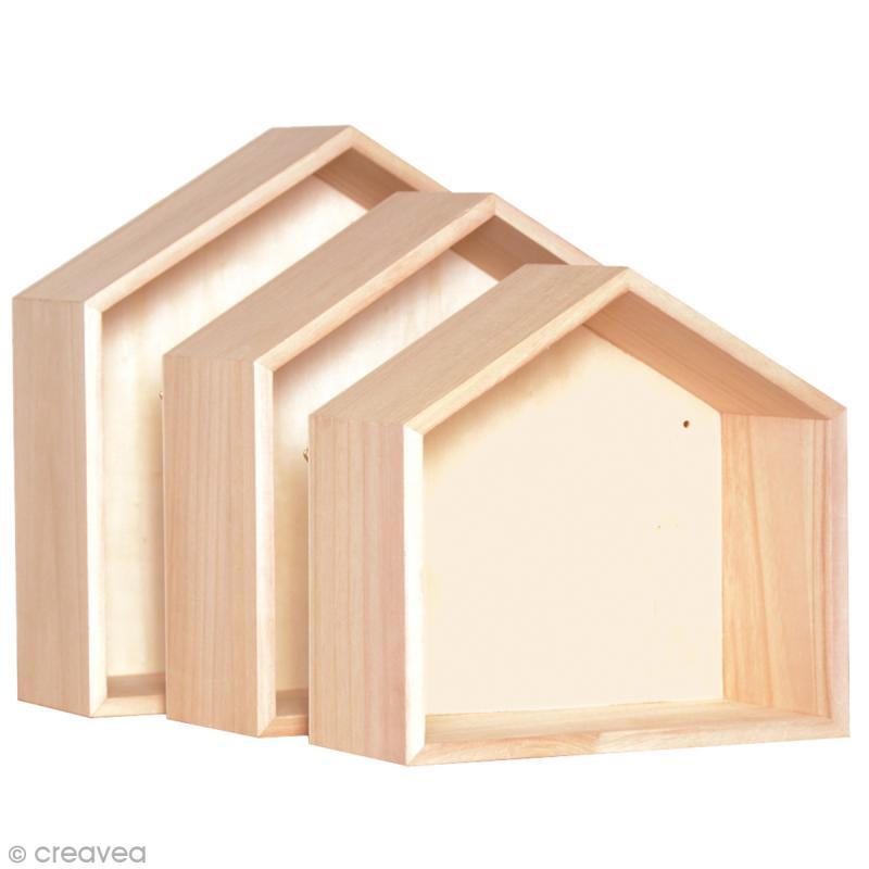 Etagères Maison à décorer en bois - 3 pcs - Photo n°2